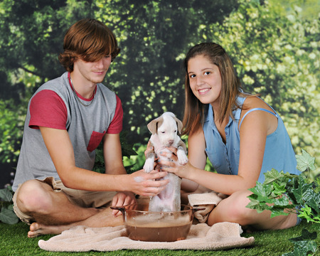 Young teens giving a bath to a puppy on a warm summer day.  The girl is happily holding the puppy up to give the viewer a better look.