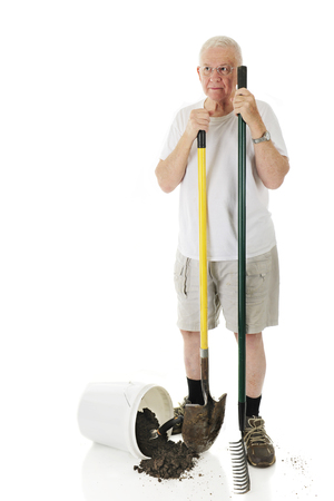 A senior man standing with his garden rake ans shovel next to a spilled bucket of dirt with a hand spade.  On a white background with space on his right for your text. photo