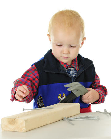 Close-up of an adorable toddler playing with a block of wood, toy hammer, and long nails.  On a white background.