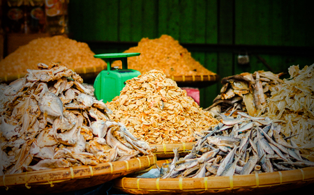 stacked dried fish