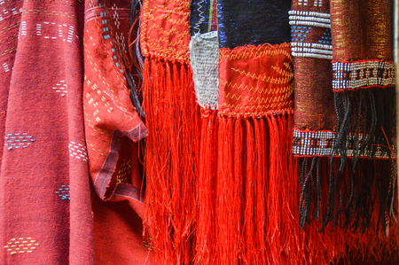 Batak clothing in a regional market Stock Photo