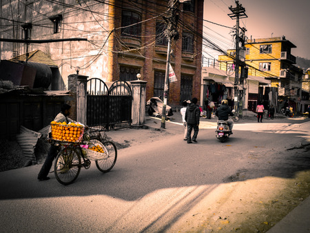 the city life in the side streets in Kathmandu