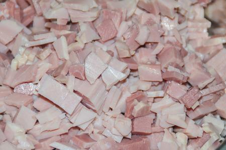 Closeup of freshly cut ham cube Imagens