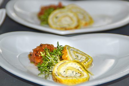 Chicken roulade with pumpkin chutney served as amuse bocuhe Banque d'images