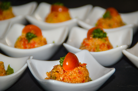 Couscous salad served as a small greeting from the kitchen Banque d'images