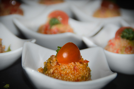 Causcaus salad as a greeting from the kitchen, also called Amuse Bouche or Amuse Gueule