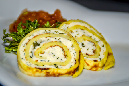 Chicken roulade as a greeting from the kitchen, also called Amuse Bouche or Amuse Gueule Banque d'images