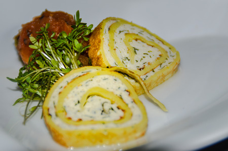 Chicken roulade as a greeting from the kitchen, also called Amuse Bouche or Amuse Gueule Stok Fotoğraf