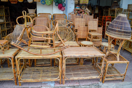 Traditional furniture shop where handcrafted rattan furniture is manufactured and sold in Cambodia