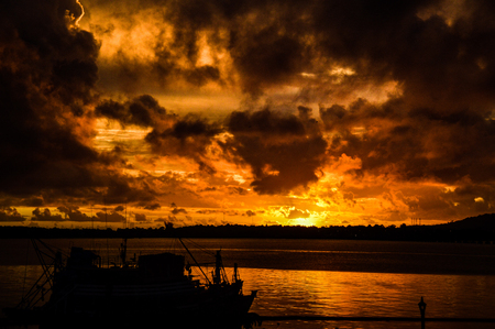 Sun sunset mood at the jetty in Cambodia