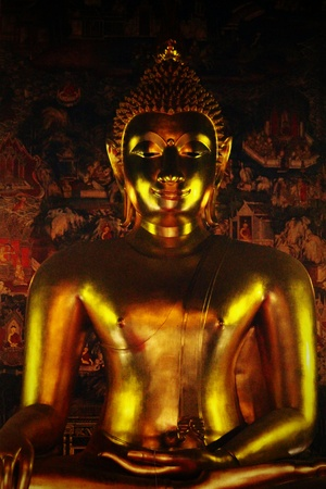 A Thai golden shining Buddha statue