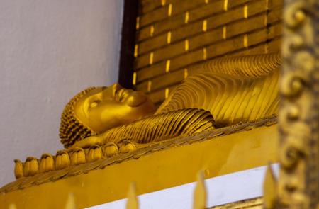 The reclining buddha of peace pagoda in Pokhara, Nepal 写真素材