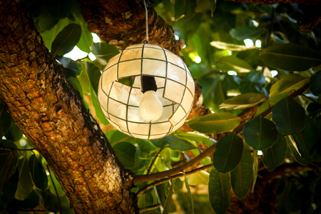 A lantern made of crepe paper and bamboo in daylight Banco de Imagens