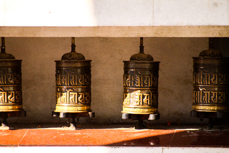 Tibetan prayer wheels, found in many Buddhist temples at the Indian state of Ladakh