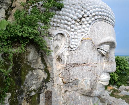 The white Buddha head at Sampou mountain in Batttambang, Cambodia