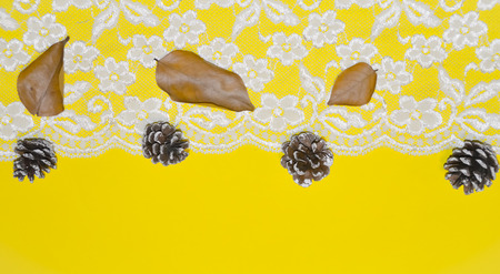 lace borders and acorns against a yellow background as a concept of changing seasons, Christmas