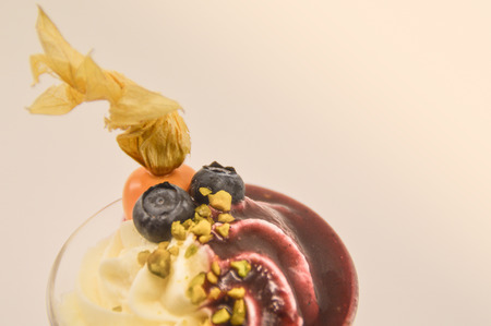 A Riesling wine with fruit sauce, physalis and blueberries from the Moselle region of Rhineland-Palatinate, Germany Stock Photo