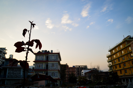 Pokhara city at sunset