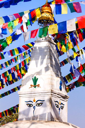 Swayambhunath adorned with prayer flags, one of the oldest proven Buddhist temple, facilities of the world, Kathmandu, Nepal
