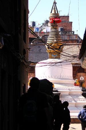 One of the many stupas built over the capital, Kathmandu, Nepal