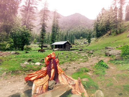 A Hindu shrine and a secluded hut in the Himalaya Mountains in Himachal Pradesh in India. Stock Photo