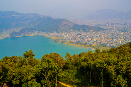 The view of Phewa Lake, Pokhara and the Himalaya Mountains from above, Nepal