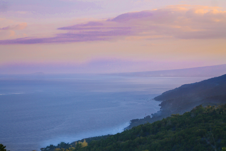 From the jungle you can see the sea that appears in a special light at evening twilight