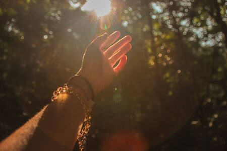 Hands reaching out to the light coming from the forest to show concept of supporting mental health, healing in nature and fitness during the covid-19 pandemic Stok Fotoğraf