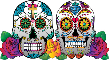 Set of 2 vector sugar skulls with roses on the side. Vector