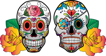 Set of 2 vector sugar skulls with flowers on the side. Zdjęcie Seryjne - 38627713