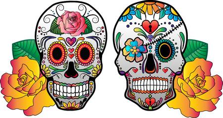 Set van 2 vector suiker schedels met bloemen aan de kant. Stock Illustratie
