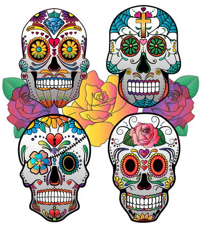 skull and bones: Set of 4 vector sugar skulls for day of the dead