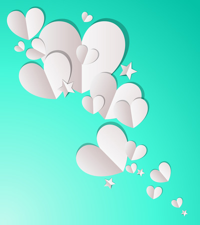 Paper hearts and stars background