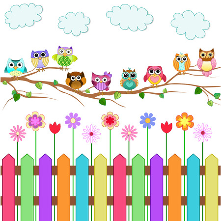 birds: Cute Owls on a Branch Vector Illustration