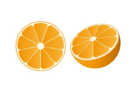 Vector van een schijfje sinaasappel en een halve sinaasappel