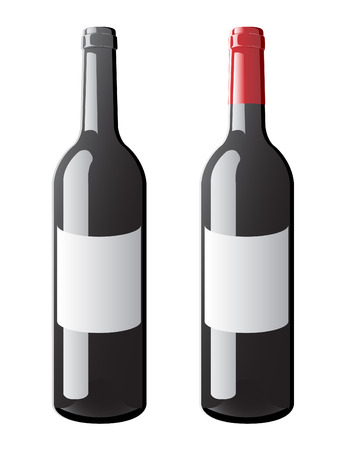 A vector of a tagged bordeaux bottle with and without a cap
