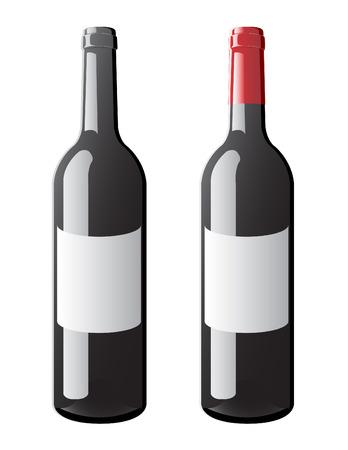 Un vector de una botella etiquetada bordeaux con y sin tapa