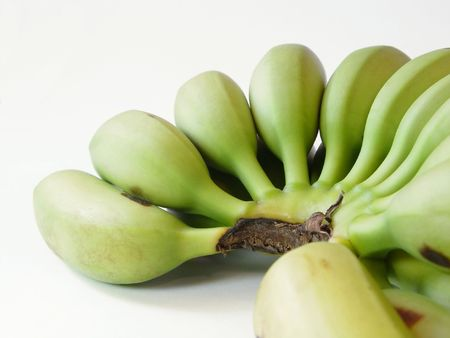ailment: A close up of a bunch of green dominican bananas on a white background