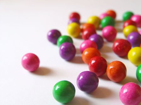 Scattered chewing gum balls