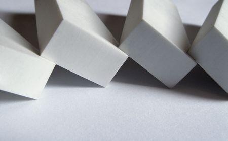 Block of white erasers