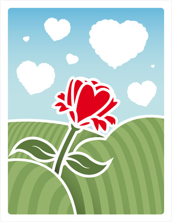 clouds: Vector of a field with a rose and heart shaped clouds