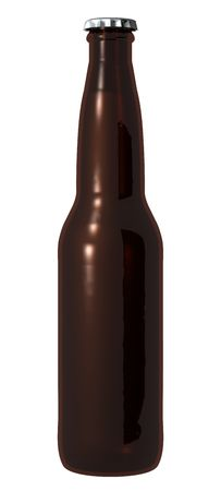 A picture of an isolated brown beer bottle