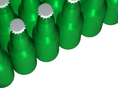A picture of a bunch of isolated green beer bottles Stock Photo