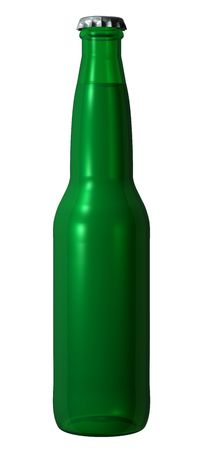 A picture of an isolated green beer bottle