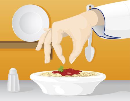 main dishes: Un vector de la mano de un chef condimentar un plato de spaghetti bolo�esa
