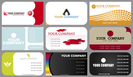 A set of nine designs of business cards