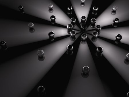 A dark background of spheres in orbit around light beams photo