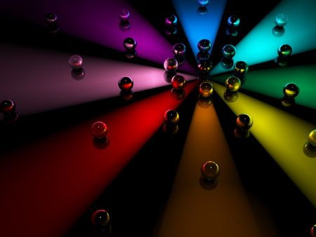 A dark background of spheres in orbit around colored light beams Stock Photo - 5291656