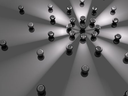 glass reflection: A background of spheres in orbit around light beams