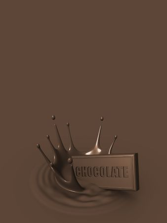A faling chocolate bar creating a melted chocolate splash Stock Photo - 5291658